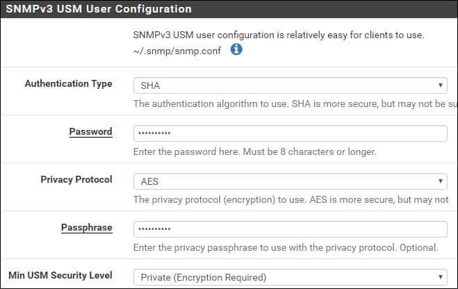 pfsense snmpv3 encryption