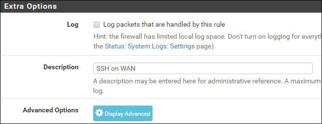 pfsense ssh firewall configuration