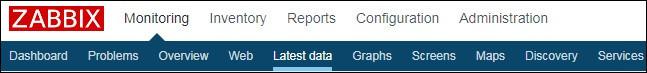 zabbix menu latest data