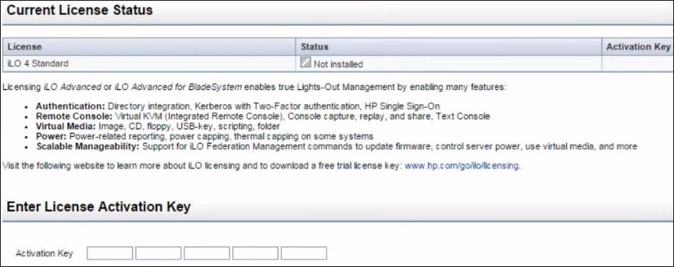 Hp iLo install license