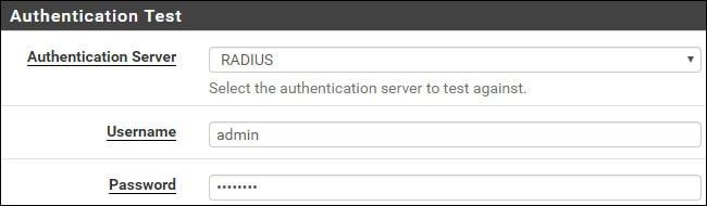 Pfsense Freeradius authentication test