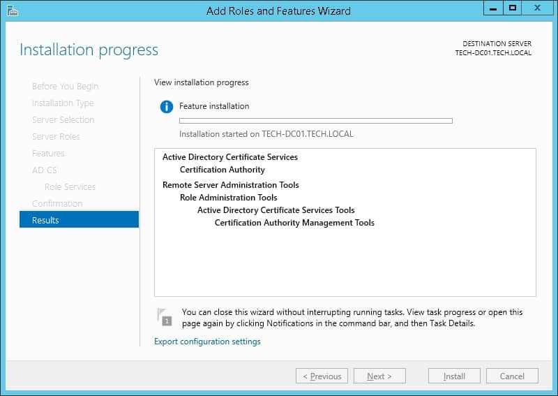 Windows 2012 R2 certification authority installation