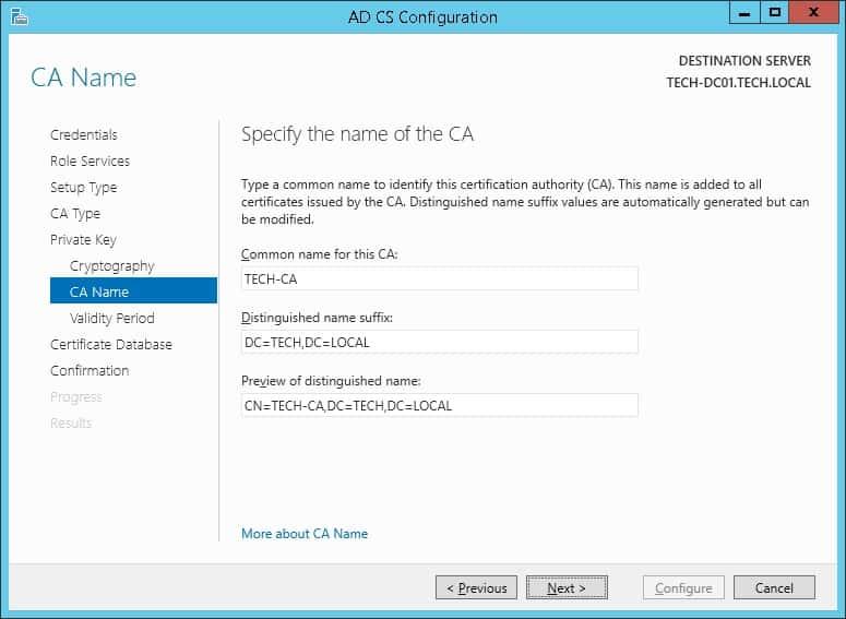 Windows CA name configuration