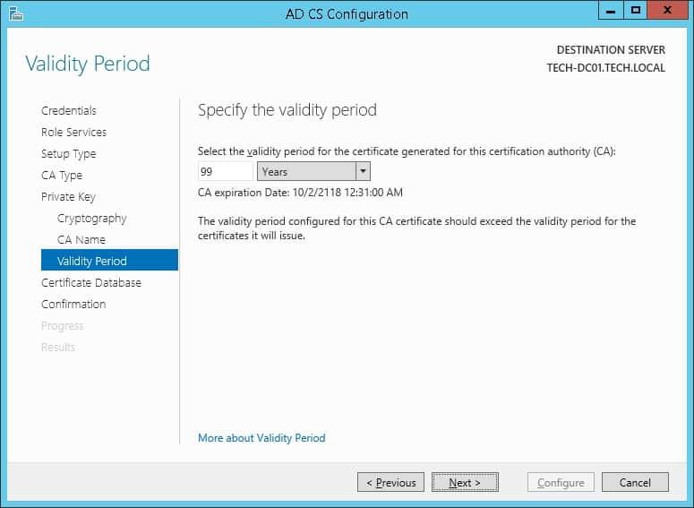 Windows CA validity period