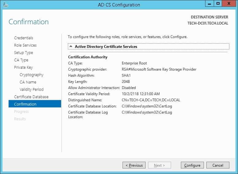 Windows Ca installation summary