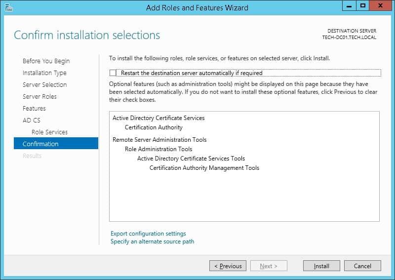 Windows ca confirmation screen