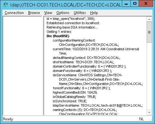 Windows ldap connection Ok