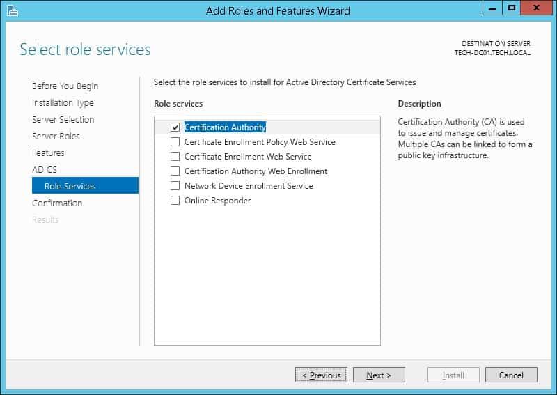 Windows server 2012 Certification authority install