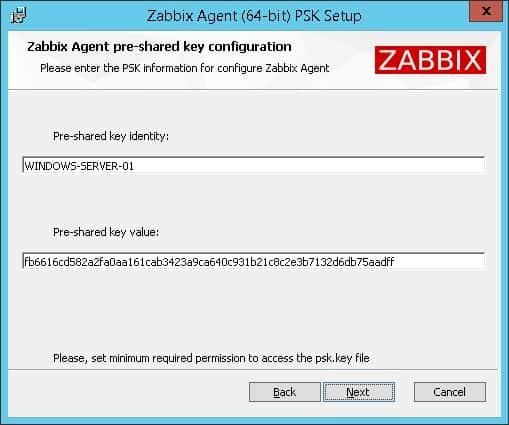 Zabbix Windows encryption PSK
