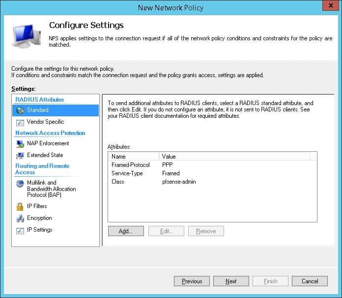 pfsense radius network policy settings nps