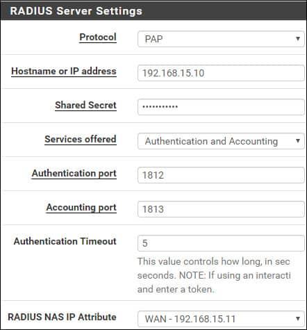 pfsense radius server settings