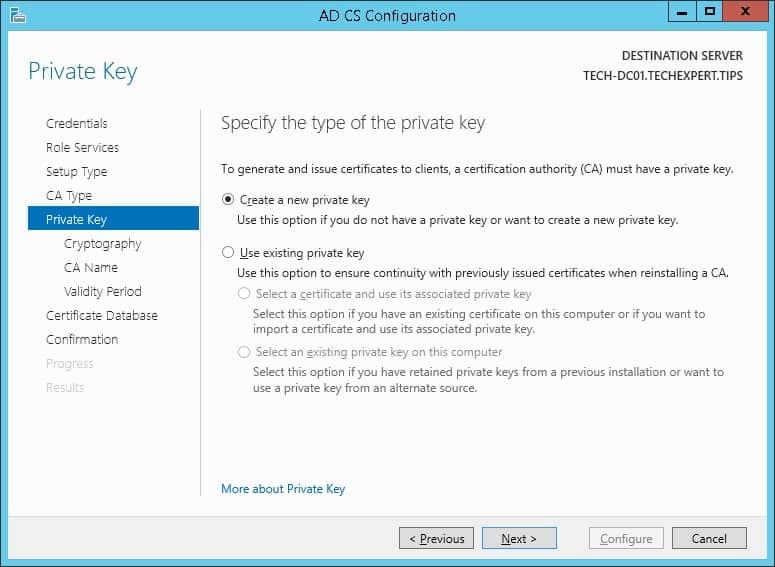 windows ca new private key