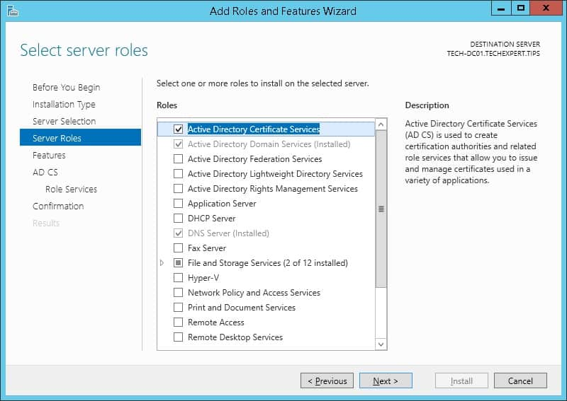 windows certification authority installation