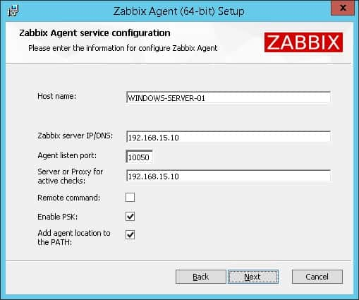 zabbix agent windows msi configuration