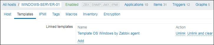 zabbix windows host template