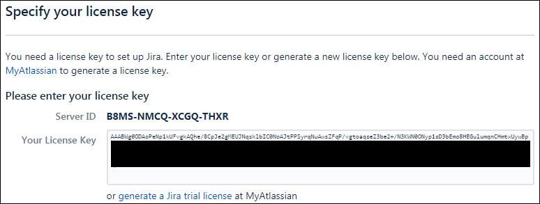Jira installation license