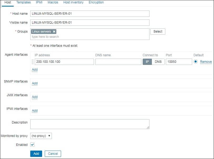 Zabbix MySQL Host