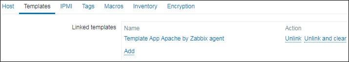 Zabbix monitoring apache by agent