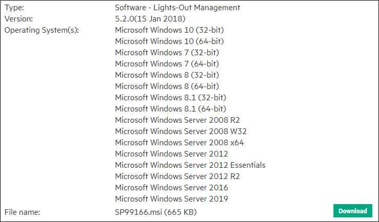 HP Lights-out configuration utility download