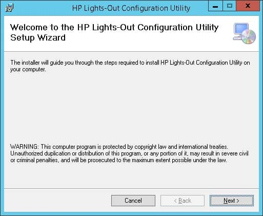 HP Lights-out configuration utility installation