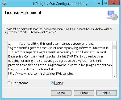 HP Lights-out configuration utility license