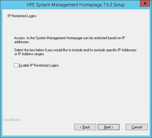 HP System Management Homepage bind ip filter
