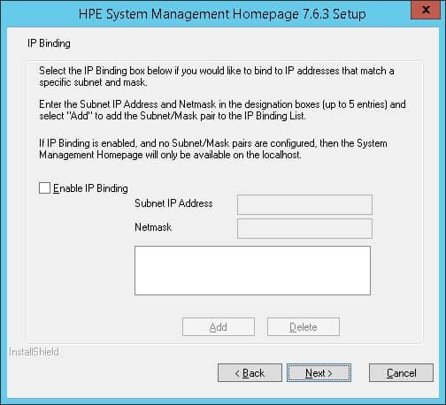 HP System Management Homepage bind