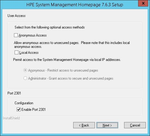 HP System Management Homepage configuration port