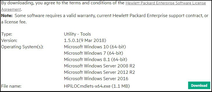 HP ilO Cmdlets Scripting Tools download