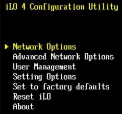ilo network option
