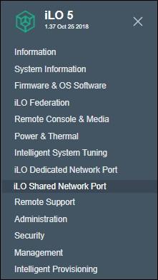ilo shared network menu