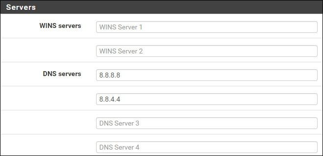pfsense dhcp server configuration