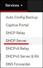 pfsense dhcp server menu