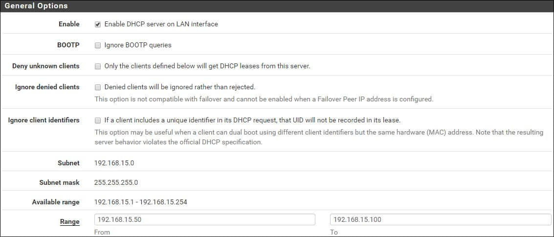pfsense dhcp server