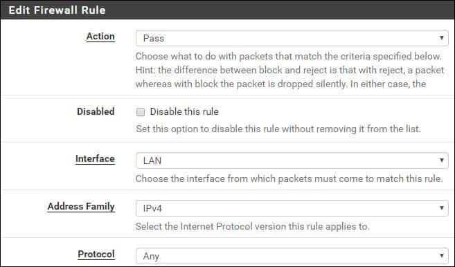 pfsense traffic shaper firewall rule