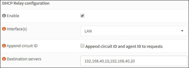 opnsense dhcp relay configuration