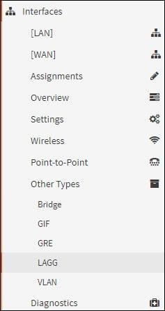 opnsense link aggregation menu