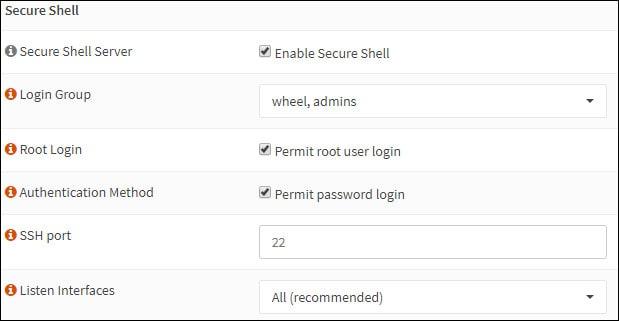 opnsense ssh configuration