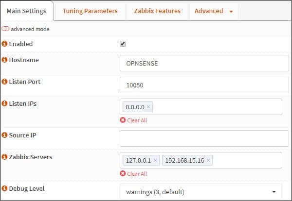 opnsense zabbix agent configuration