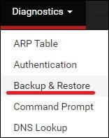 pfsense backup menu