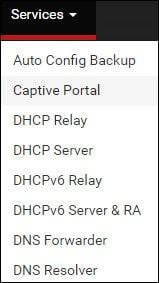 pfsense captive portal menu