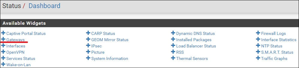 pfsense dashboard monitor gateway