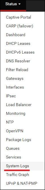 pfsense remote syslog menu