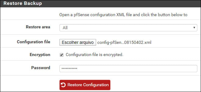 pfsense restore configuration