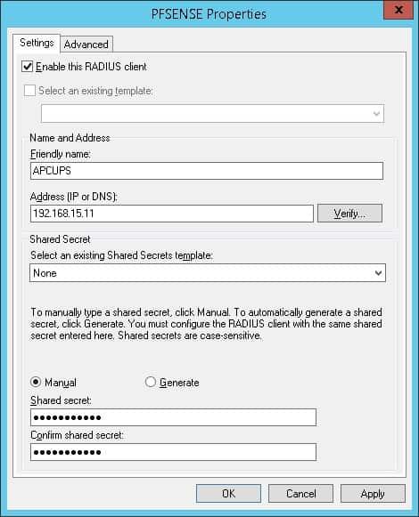 APC UPS Active directory - Radius client