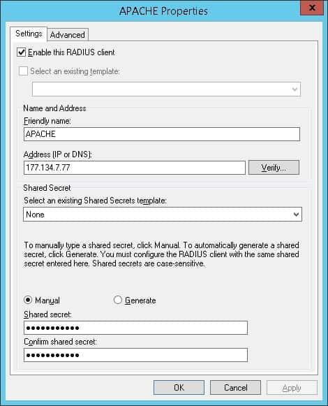 Apache radius client NPS
