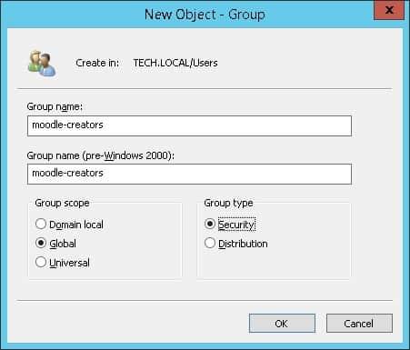 Moodle LDAP active directory creators group