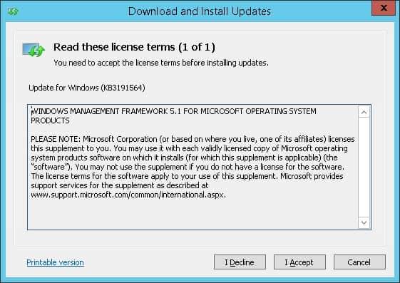 Windows Management Framework installation