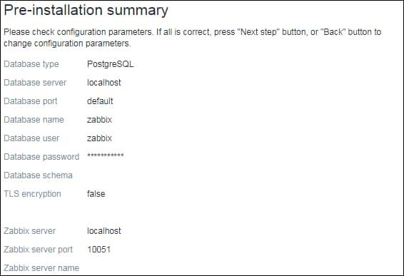 Zabbix 5 installation summary timescaledb