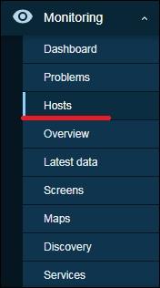 Zabbix 5 monitoring hosts menu